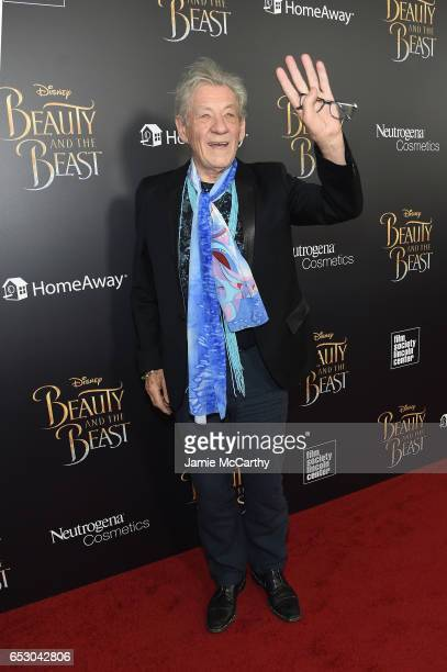 Actor Ian McKellen arrives at the New York special screening of Disney's liveaction adaptation 'Beauty and the Beast' at Alice Tully Hall on March 13...
