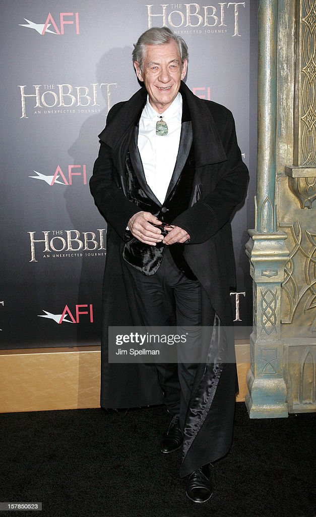 Actor Ian McKellen attends 'The Hobbit: An Unexpected Journey' premiere at the Ziegfeld Theater on December 6, 2012 in New York City.