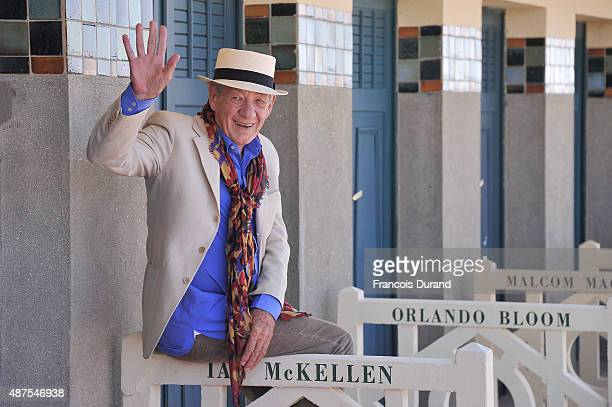 Actor Ian McKellen attends the unveiling of his dedicated beach locker room on the Promenade des Planches during the 41st Deauville American Film...