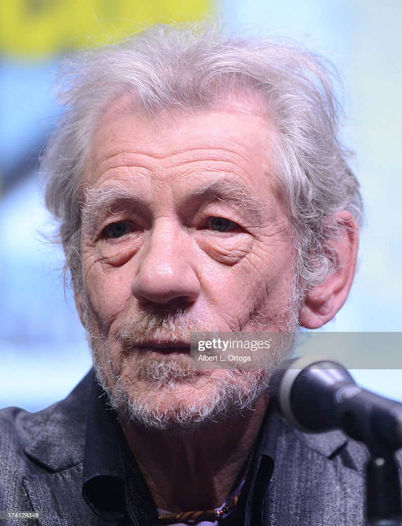 Actor <a gi-track='captionPersonalityLinkClicked' href=/galleries/search?phrase=Ian+McKellen&family=editorial&specificpeople=202983 ng-click='$event.stopPropagation()'>Ian McKellen</a> speaks at the 20th Century Fox 'X-Men: Days of Future Past' panel during Comic-Con International 2013 at San Diego Convention Center on July 20, 2013 in San Diego, California.
