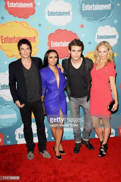 Actor Ian Somerhalder actress Kat Graham actor Paul Wesley and Candice Accola attend Entertainment Weekly's Annual ComicCon Celebration at Float at...