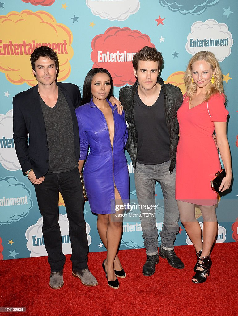 Actor <a gi-track='captionPersonalityLinkClicked' href=/galleries/search?phrase=Ian+Somerhalder&family=editorial&specificpeople=614226 ng-click='$event.stopPropagation()'>Ian Somerhalder</a>, actress Kat Graham, actor <a gi-track='captionPersonalityLinkClicked' href=/galleries/search?phrase=Paul+Wesley&family=editorial&specificpeople=693176 ng-click='$event.stopPropagation()'>Paul Wesley</a> and <a gi-track='captionPersonalityLinkClicked' href=/galleries/search?phrase=Candice+Accola&family=editorial&specificpeople=2335285 ng-click='$event.stopPropagation()'>Candice Accola</a> attend Entertainment Weekly's Annual Comic-Con Celebration at Float at Hard Rock Hotel San Diego on July 20, 2013 in San Diego, California.