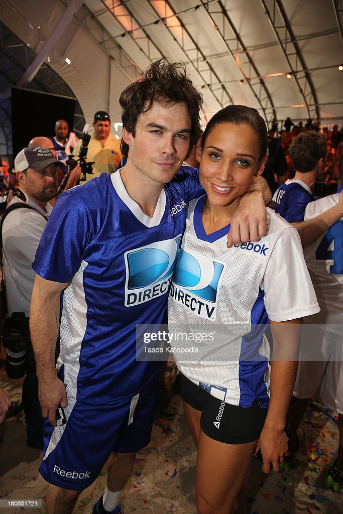 Actor Ian Somerhalder and bobsled athlete LoLo Jones attend DIRECTV'S Seventh Annual Celebrity Beach Bowl at DTV SuperFan Stadium at Mardi Gras World on February 2, 2013 in New Orleans, Louisiana.