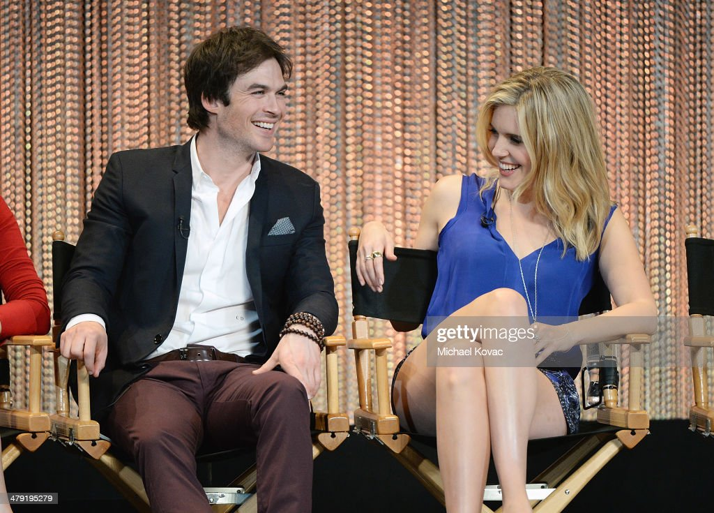 Actor Ian Somerhalder (L) and Maggie Grace participate in a Q&A at The Paley Center For Media's PaleyFest 2014 Honoring 'Lost: 10th Anniversary Reunion' at Dolby Theatre on March 16, 2014 in Hollywood, California.