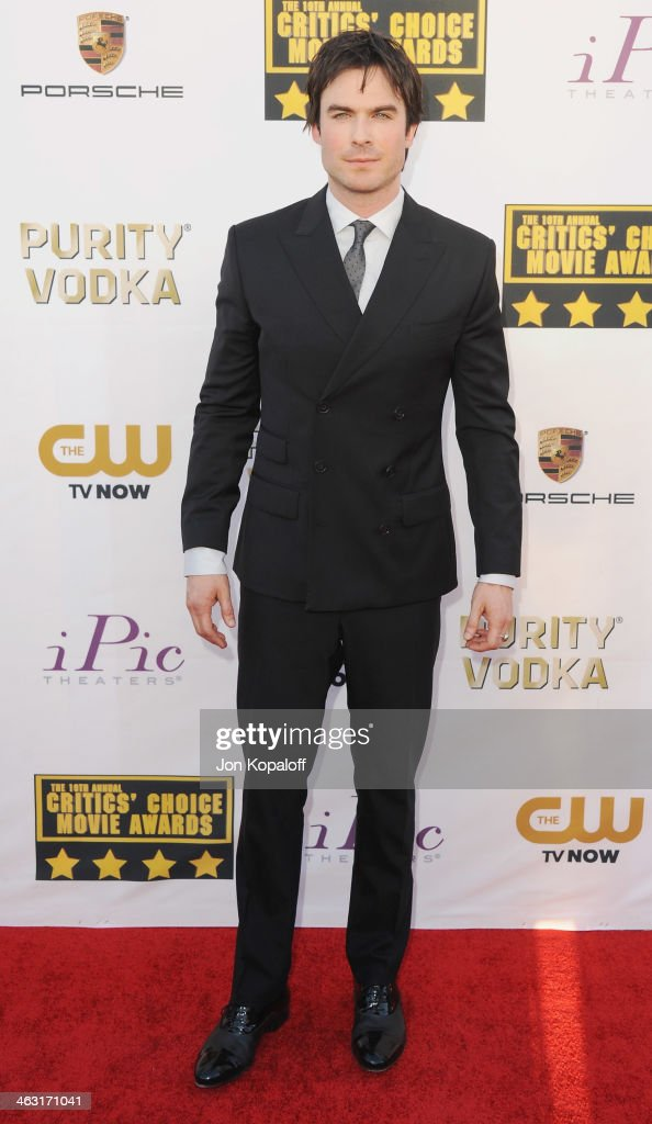 Actor <a gi-track='captionPersonalityLinkClicked' href=/galleries/search?phrase=Ian+Somerhalder&family=editorial&specificpeople=614226 ng-click='$event.stopPropagation()'>Ian Somerhalder</a> arrives at the 19th Annual Critics' Choice Movie Awards at Barker Hangar on January 16, 2014 in Santa Monica, California.