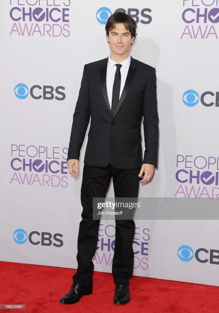 Actor <a gi-track='captionPersonalityLinkClicked' href=/galleries/search?phrase=Ian+Somerhalder&family=editorial&specificpeople=614226 ng-click='$event.stopPropagation()'>Ian Somerhalder</a> arrives at the 2013 People's Choice Awards at Nokia Theatre L.A. Live on January 9, 2013 in Los Angeles, California.