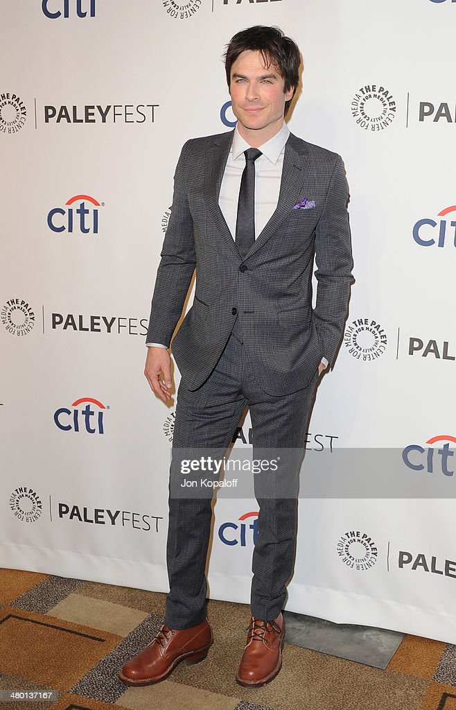 Actor <a gi-track='captionPersonalityLinkClicked' href=/galleries/search?phrase=Ian+Somerhalder&family=editorial&specificpeople=614226 ng-click='$event.stopPropagation()'>Ian Somerhalder</a> arrives at the 2014 PaleyFest - 'The Vampire Diaries' & 'The Originals' on March 22, 2014 in Hollywood, California.