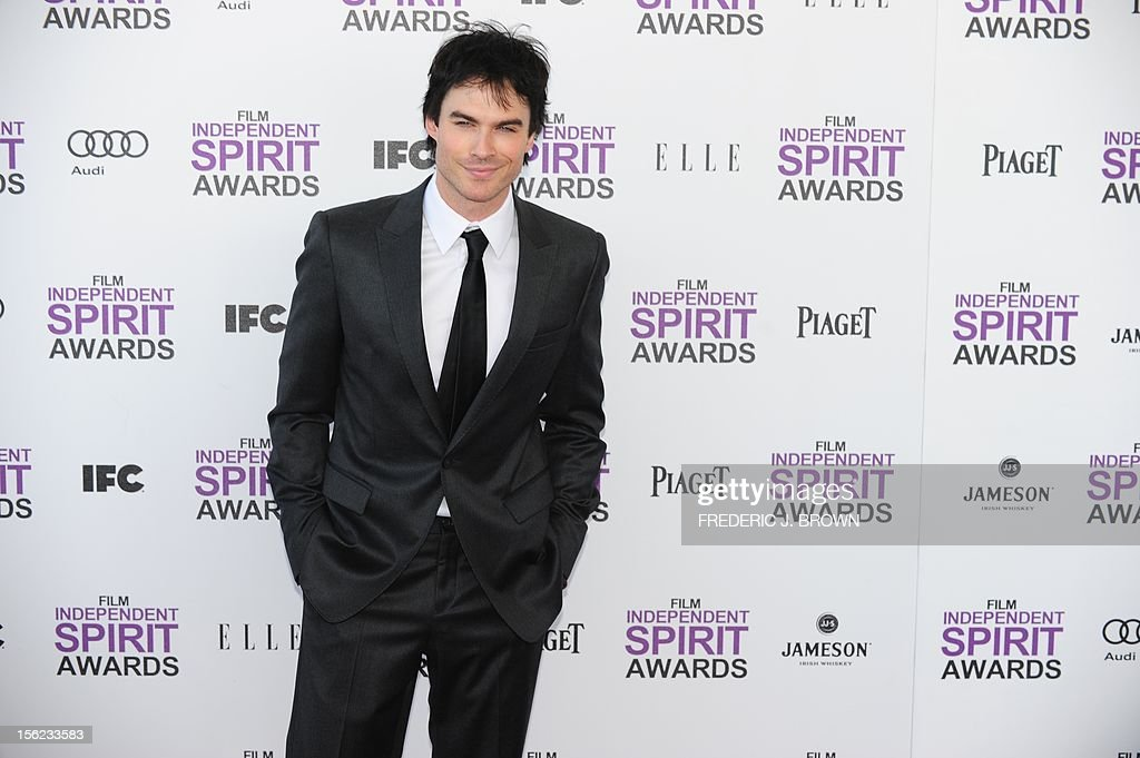 Actor Ian Somerhalder arrives on the red carpet on February 25, 2012 for the Independent Spirit Awards in Santa Monica, California.