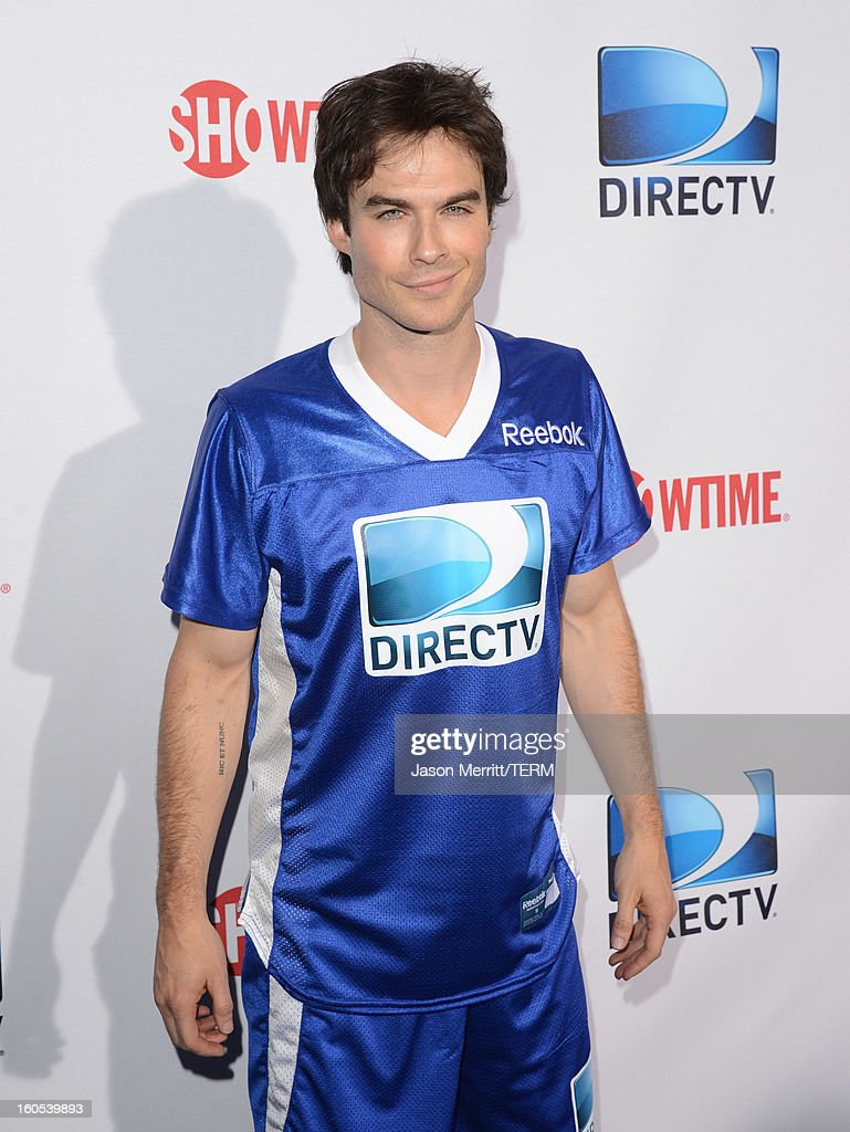Actor <a gi-track='captionPersonalityLinkClicked' href=/galleries/search?phrase=Ian+Somerhalder&family=editorial&specificpeople=614226 ng-click='$event.stopPropagation()'>Ian Somerhalder</a> attends DIRECTV'S Seventh Annual Celebrity Beach Bowl at DTV SuperFan Stadium at Mardi Gras World on February 2, 2013 in New Orleans, Louisiana.