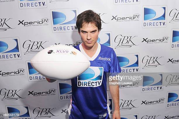 Actor Ian Somerhalder attends GBK and DirecTV Celebrity Beach Bowl Thank You Lounge at DTV SuperFan Stadium at Mardi Gras World on February 2 2013 in...