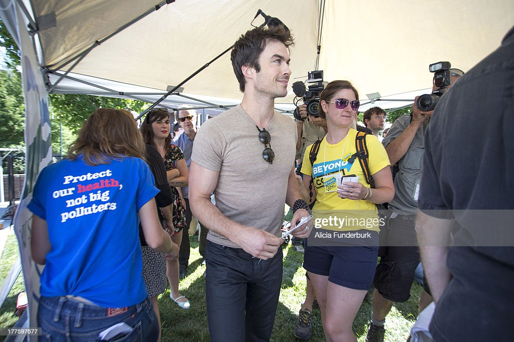 Actor <a gi-track='captionPersonalityLinkClicked' href=/galleries/search?phrase=Ian+Somerhalder&family=editorial&specificpeople=614226 ng-click='$event.stopPropagation()'>Ian Somerhalder</a> attends the Sierra Club's Asheville Beyond Coal: A Rally for Our Future at Pack Square on August 24, 2013 in Asheville, North Carolina.