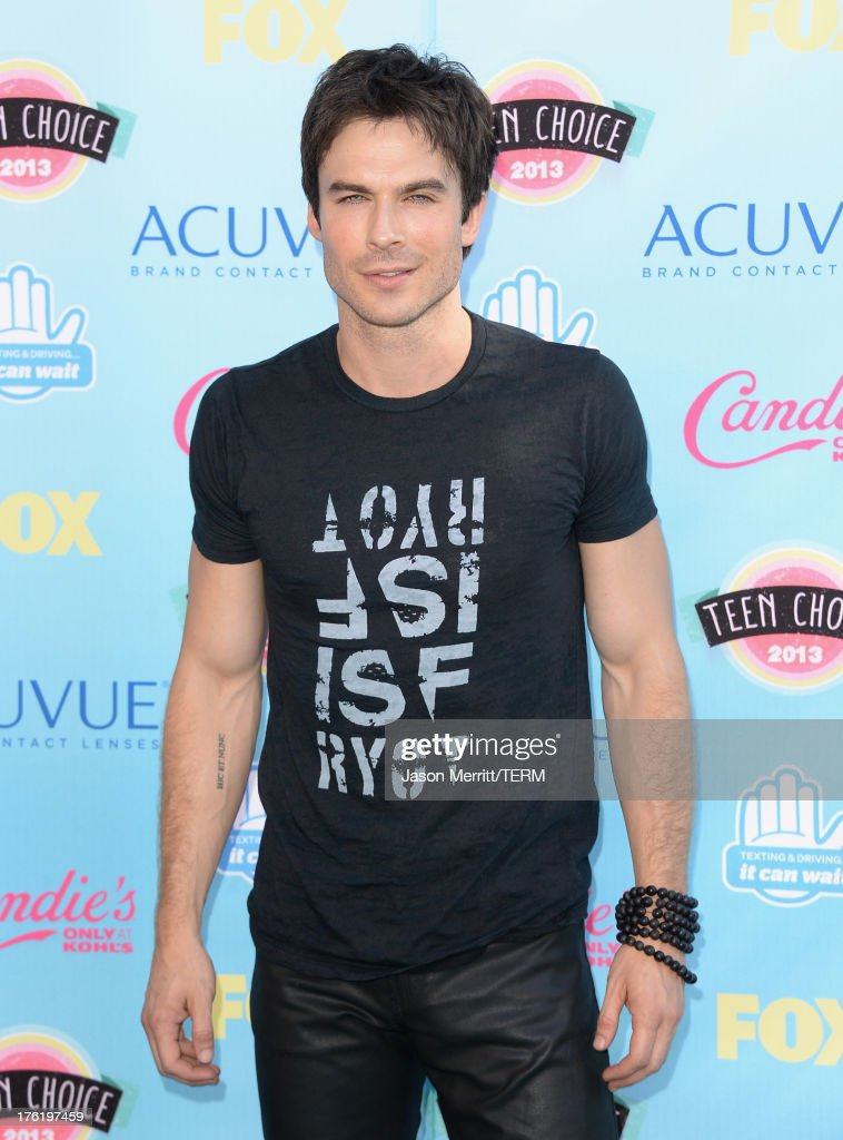 Actor <a gi-track='captionPersonalityLinkClicked' href=/galleries/search?phrase=Ian+Somerhalder&family=editorial&specificpeople=614226 ng-click='$event.stopPropagation()'>Ian Somerhalder</a> attends the Teen Choice Awards 2013 at Gibson Amphitheatre on August 11, 2013 in Universal City, California.