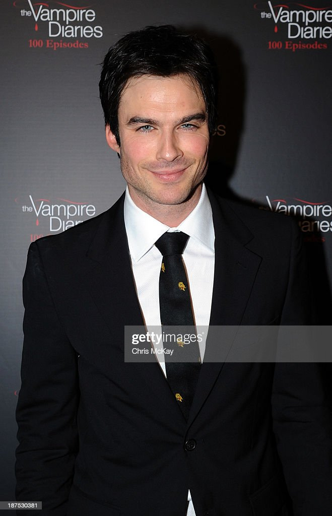 Actor <a gi-track='captionPersonalityLinkClicked' href=/galleries/search?phrase=Ian+Somerhalder&family=editorial&specificpeople=614226 ng-click='$event.stopPropagation()'>Ian Somerhalder</a> attends The Vampire Diaries 100th Episode Celebration on November 9, 2013 in Atlanta, Georgia.