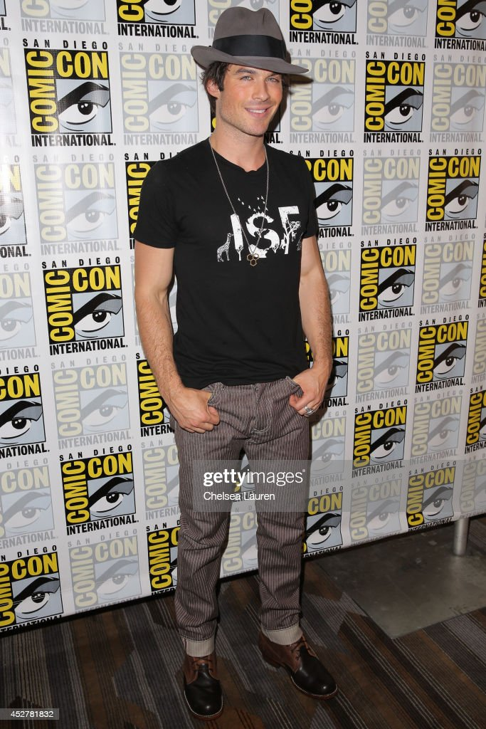 Actor <a gi-track='captionPersonalityLinkClicked' href=/galleries/search?phrase=Ian+Somerhalder&family=editorial&specificpeople=614226 ng-click='$event.stopPropagation()'>Ian Somerhalder</a> attends 'The Vampire Diaries' press room at Comic-Con International on July 26, 2014 in San Diego, California.