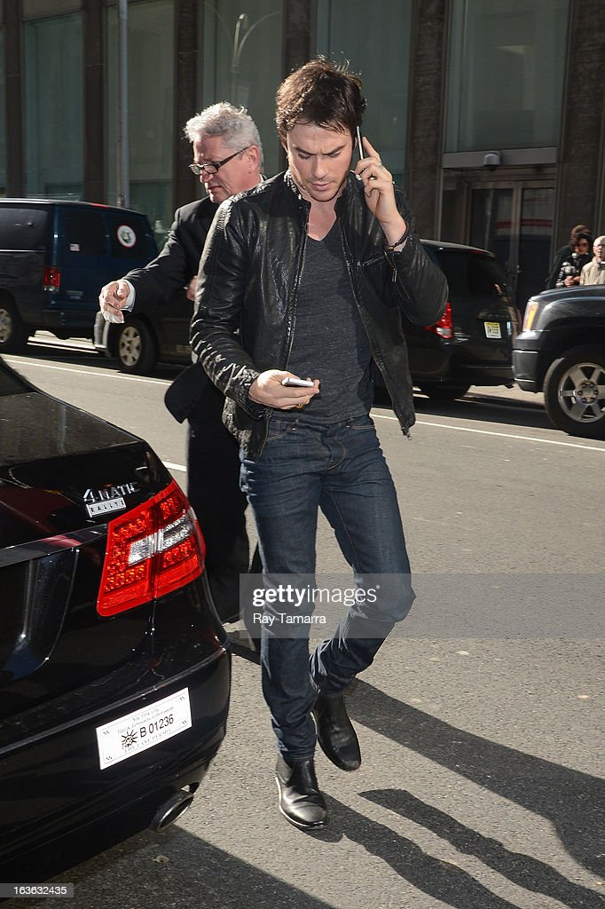 Actor <a gi-track='captionPersonalityLinkClicked' href=/galleries/search?phrase=Ian+Somerhalder&family=editorial&specificpeople=614226 ng-click='$event.stopPropagation()'>Ian Somerhalder</a> enters the Sirius XM Studios on March 13, 2013 in New York City.