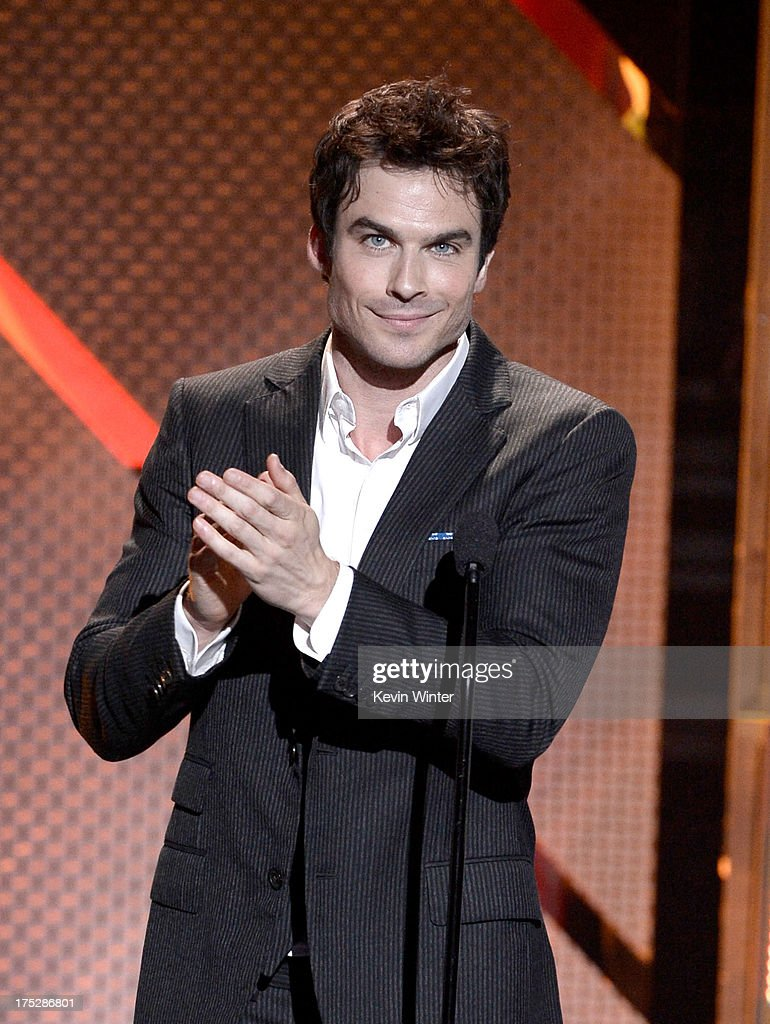 Actor <a gi-track='captionPersonalityLinkClicked' href=/galleries/search?phrase=Ian+Somerhalder&family=editorial&specificpeople=614226 ng-click='$event.stopPropagation()'>Ian Somerhalder</a> speaks on stage at CW Network's 2013 Young Hollywood Awards presented by Crest 3D White and SodaStream held at The Broad Stage on August 1, 2013 in Santa Monica, California.
