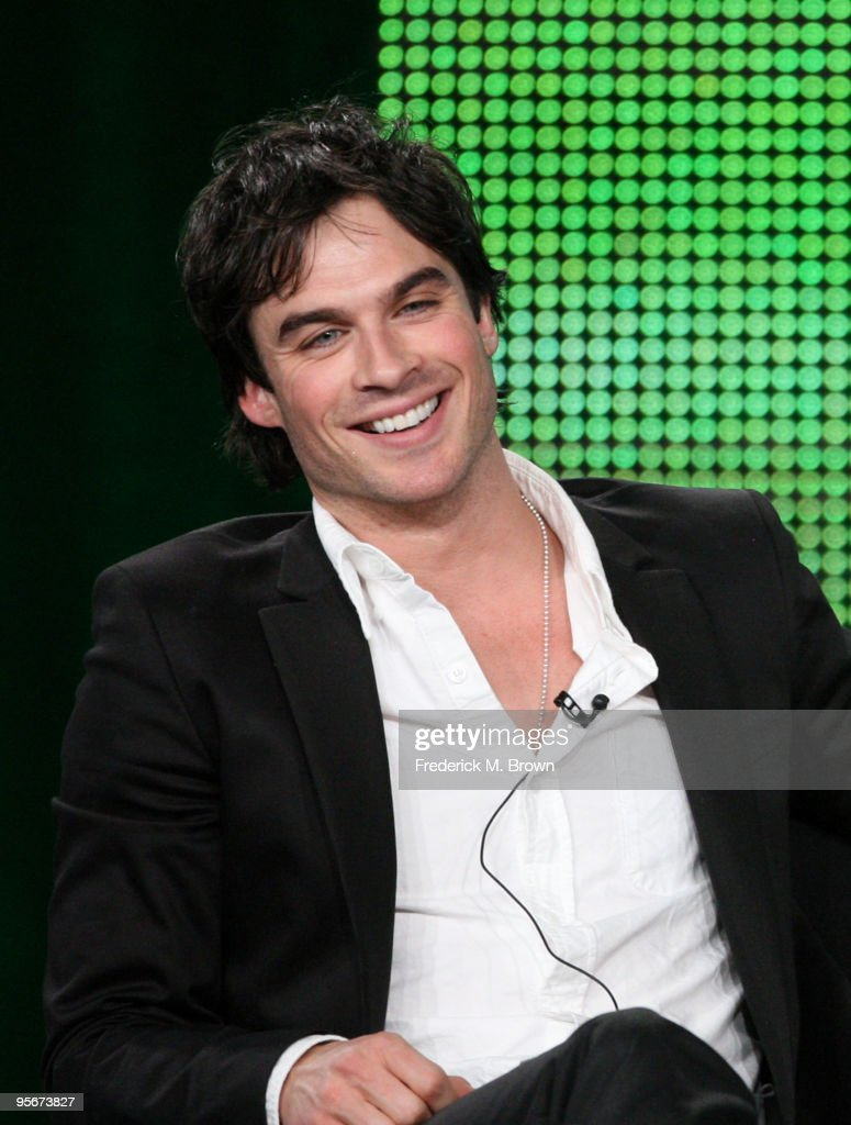 Actor <a gi-track='captionPersonalityLinkClicked' href=/galleries/search?phrase=Ian+Somerhalder&family=editorial&specificpeople=614226 ng-click='$event.stopPropagation()'>Ian Somerhalder</a> speaks onstage at the CW 'The Vampire Diaries' Q&A portion of the 2010 Winter TCA Tour day 1 at the Langham Hotel on January 9, 2010 in Pasadena, California.