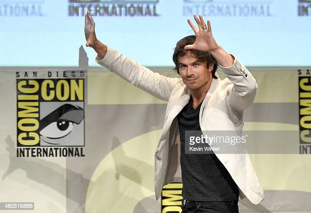 Actor Ian Somerhalder speaks onstage at the 'The Vampire Diaries' panel during ComicCon International 2015 at the San Diego Convention Center on July...