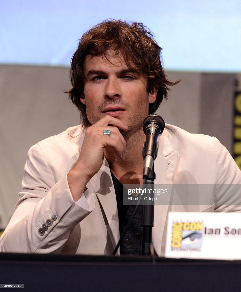 Actor Ian Somerhalder speaks onstage at the 'The Vampire Diaries' panel during Comic-Con International 2015 at the San Diego Convention Center on July 12, 2015 in San Diego, California.