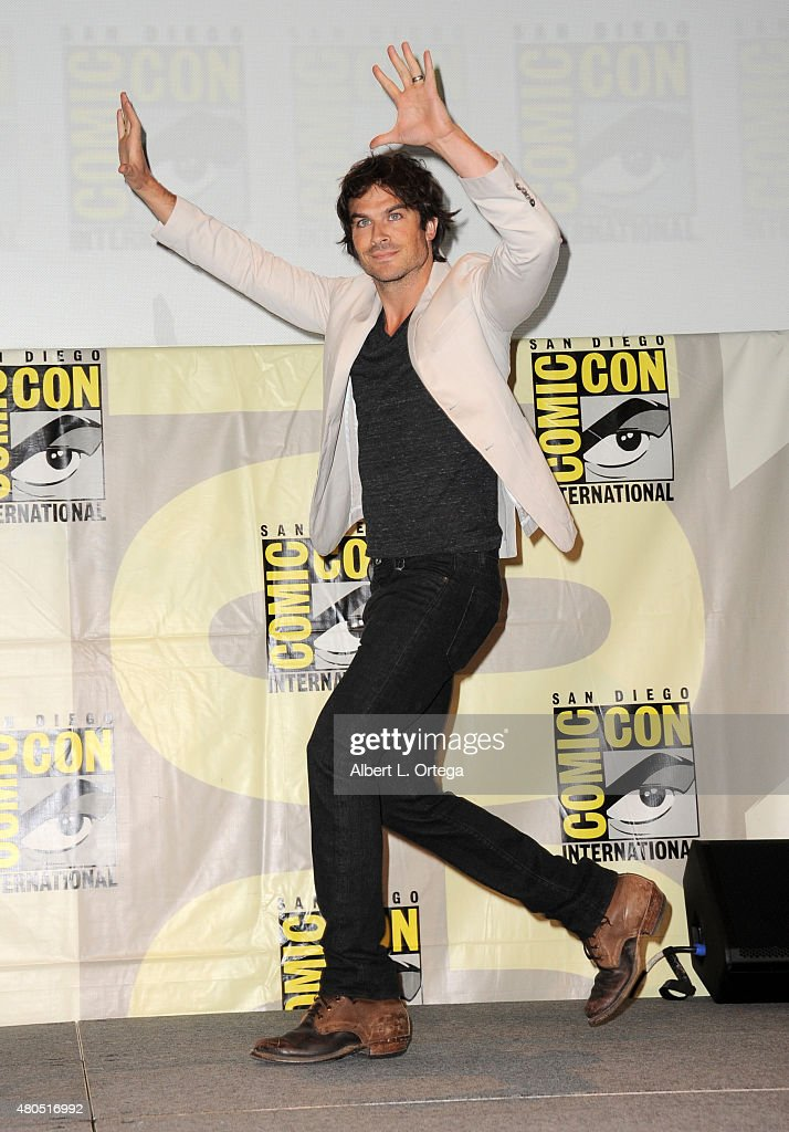 Actor <a gi-track='captionPersonalityLinkClicked' href=/galleries/search?phrase=Ian+Somerhalder&family=editorial&specificpeople=614226 ng-click='$event.stopPropagation()'>Ian Somerhalder</a> walks onstage at the 'The Vampire Diaries' panel during Comic-Con International 2015 at the San Diego Convention Center on July 12, 2015 in San Diego, California.