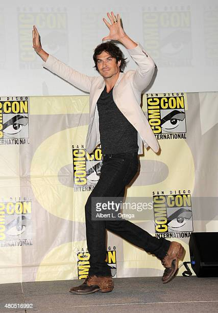 Actor Ian Somerhalder walks onstage at the 'The Vampire Diaries' panel during ComicCon International 2015 at the San Diego Convention Center on July...