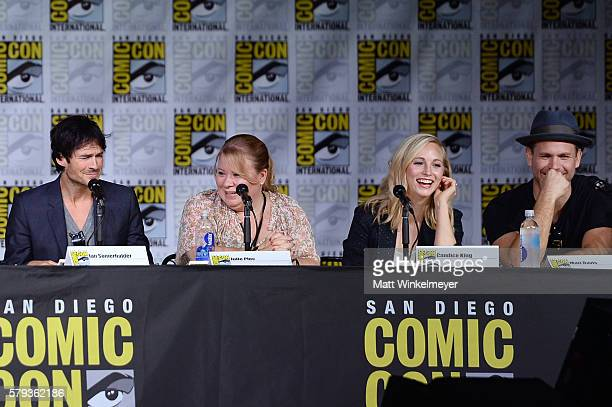Actor Ian Somerhalder writer/producer Julie Plec actors Candice King and Matt Davis attend the 'The Vampire Diaries' panel during ComicCon...