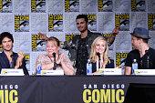 Actor Ian Somerhalder writer/producer Julie Plec actors Michael Malarkey Candice King and Matt Davis attend the 'The Vampire Diaries' panel during...