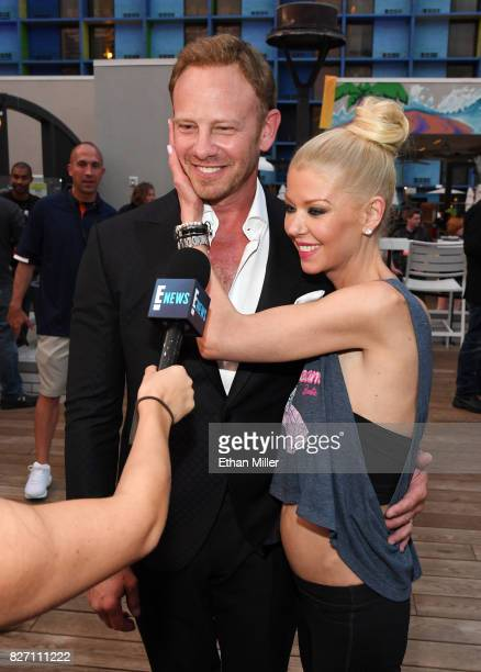 Actor Ian Ziering and actress Tara Reid are interviewed during the 'Sharknado 5 Global Swarming' premiere after party at The LINQ Hotel Casino on...