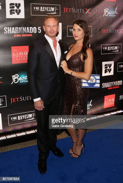 Actor Ian Ziering and his wife Erin Kristine Ludwig attend the premiere of 'Sharknado 5 Global Swarming' at The Linq Hotel Casino on August 6 2017 in...
