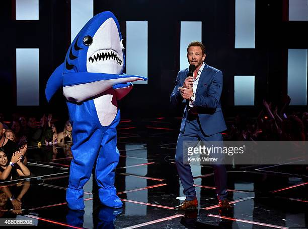 Actor Ian Ziering and 'Left Shark' perform onstage during the 2015 iHeartRadio Music Awards which broadcasted live on NBC from The Shrine Auditorium...
