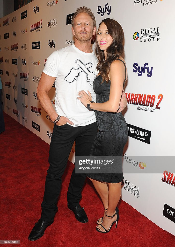 Actor <a gi-track='captionPersonalityLinkClicked' href=/galleries/search?phrase=Ian+Ziering&family=editorial&specificpeople=622264 ng-click='$event.stopPropagation()'>Ian Ziering</a> and wife Erin attend the premiere of The Asylum & Fathom Events' 'Sharknado 2: The Second One' at Regal Cinemas L.A. Live on August 21, 2014 in Los Angeles, California.