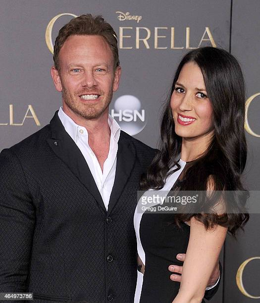 Actor Ian Ziering and wife Erin Kristine Ludwig arrive at the World Premiere of Disney's 'Cinderella' at the El Capitan Theatre on March 1 2015 in...