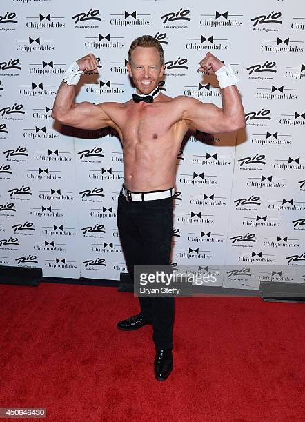 Actor Ian Ziering arrives at Chippendales for his return as Chippendales celebrity guest host at the Rio Hotel Casino on June 14 2014 in Las Vegas...