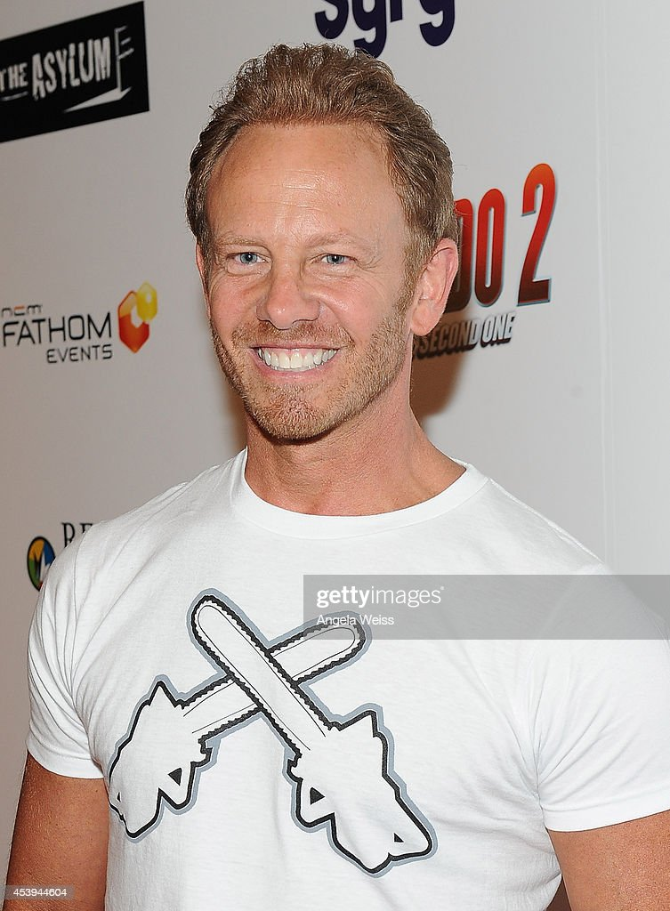 Actor Ian Ziering attends the premiere of The Asylum Fathom Events' 'Sharknado 2 The Second One' at Regal Cinemas LA Live on August 21 2014 in Los...