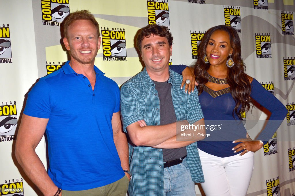 Actor Ian Ziering directorAnthony C Ferrante and actress Vivica A Fox at SyFy's 'Sharknado 2 The Second One' Panel on Day 1 of ComicCon International...