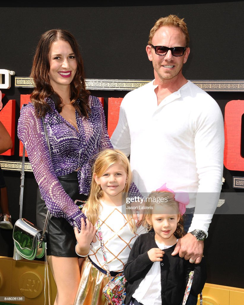 Actor Ian Ziering, wife Erin Kristine Ludwig and children Mia Loren Ziering and Penna Mae Ziering attend the premiere of 'The LEGO Ninjago Movie' at Regency Village Theatre on September 16, 2017 in Westwood, California.