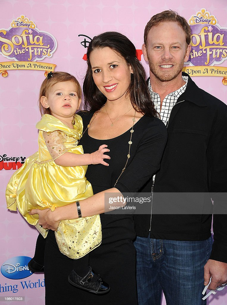Actor <a gi-track='captionPersonalityLinkClicked' href=/galleries/search?phrase=Ian+Ziering&family=editorial&specificpeople=622264 ng-click='$event.stopPropagation()'>Ian Ziering</a> (R) wife Erin Ludwig and daughter Mia Loren Ziering attend the premiere of 'Sofia The First: Once Upon a Princess' at Walt Disney Studios on November 10, 2012 in Burbank, California.