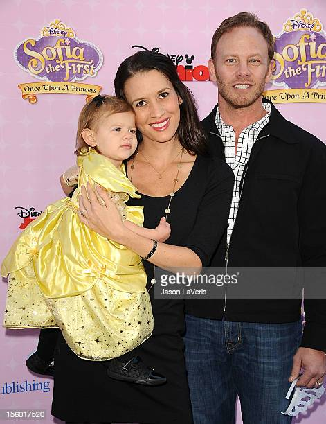 Actor Ian Ziering wife Erin Ludwig and daughter Mia Loren Ziering attend the premiere of 'Sofia The First Once Upon a Princess' at Walt Disney...