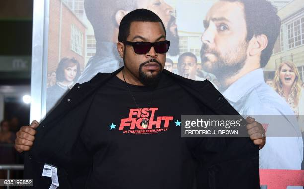 Actor Ice Cube strikes a pose on arrival for the world premiere of the film 'Fist Fight' in Los Angeles California on February 13 2017 / AFP /...