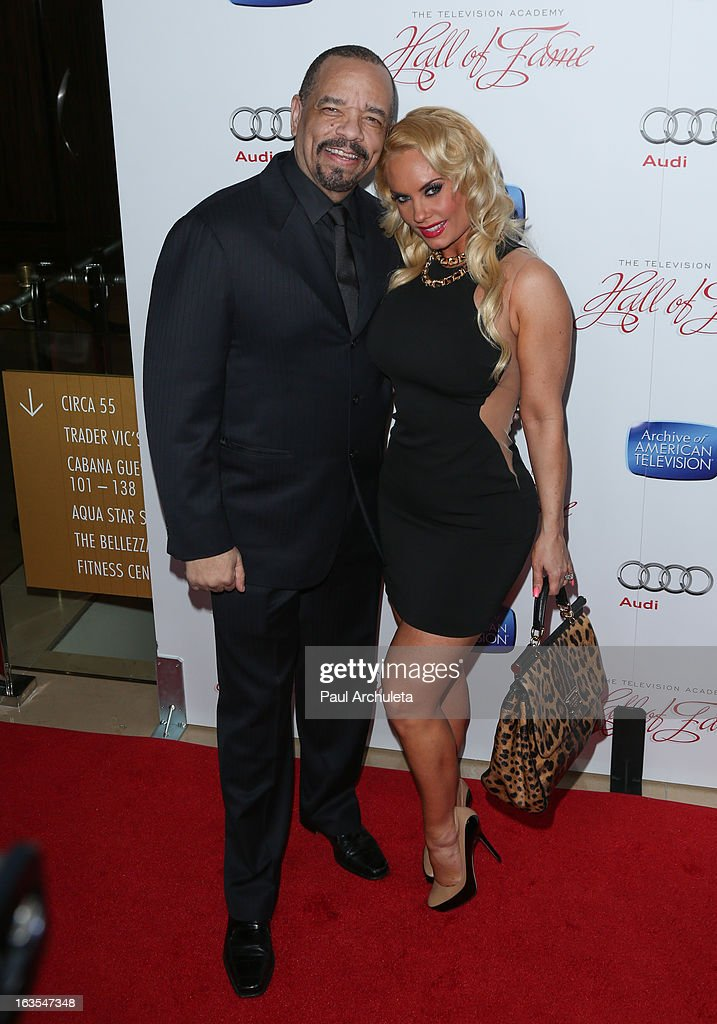 Actor <a gi-track='captionPersonalityLinkClicked' href=/galleries/search?phrase=Ice-T&family=editorial&specificpeople=213017 ng-click='$event.stopPropagation()'>Ice-T</a> (L) and Reality TV Personality <a gi-track='captionPersonalityLinkClicked' href=/galleries/search?phrase=Coco+Austin&family=editorial&specificpeople=207511 ng-click='$event.stopPropagation()'>Coco Austin</a> (R) attend the Academy Of Television Arts & Sciences 22nd annual Hall Of Fame induction gala at The Beverly Hilton Hotel on March 11, 2013 in Beverly Hills, California.