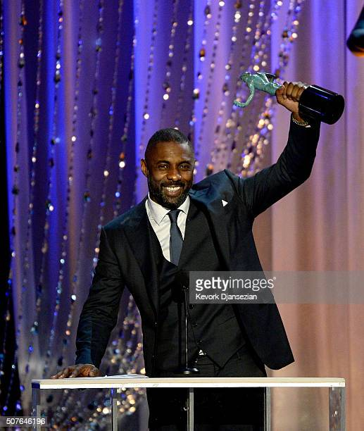 Actor Idris Elba accepts Outstanding Performance by a Male Actor in a Miniseries or Television Movie for 'Luther' onstage during the 22nd Annual...