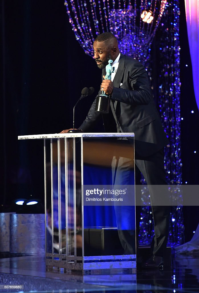 Actor Idris Elba accepts the Outstanding Performance by a Male Actor in a Miniseries or Television Movie award for 'Luther' onstage during The 22nd...