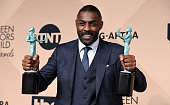 Actor Idris Elba winner of Best Supporting Actor poses in the press room during the 22nd Annual Screen Actors Guild Awards at The Shrine Auditorium...