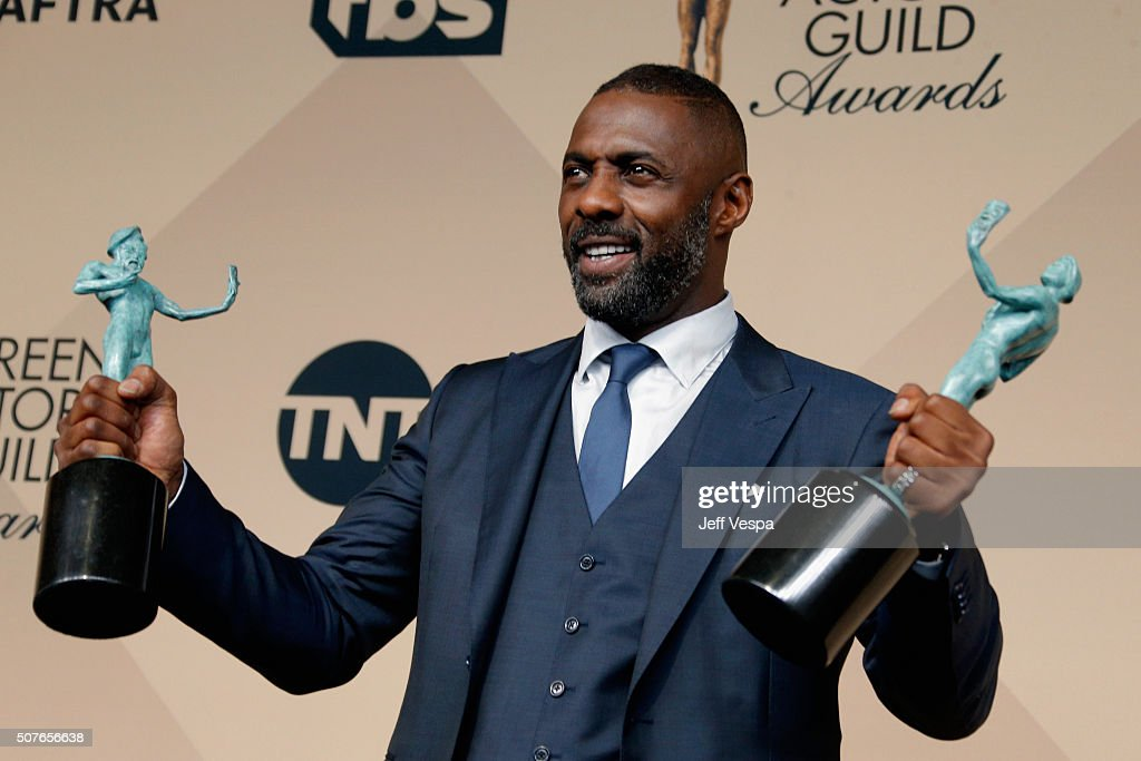 Actor Idris Elba winner of the Outstanding Performance by a Male Actor in a Supporting Role award for 'Beasts of No Nation' and Outstanding...