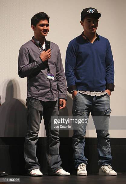 Actor Iko Uwais and actor Joe Taslim attend 'The Raid' Premiere at Ryerson Theatre during the 2011 Toronto International Film Festival on September 8...