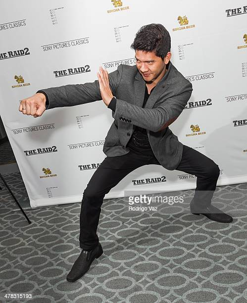 Actor Iko Uwais attends 'The Raid 2' Los Angeles Premiere arrivals at Harmony Gold Theatre on March 12 2014 in Los Angeles California
