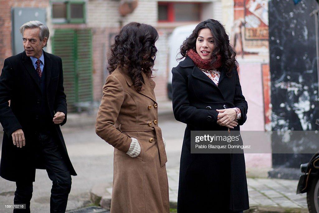 Actor Imanol Arias, actresses Pilar Punzano and Ana Arias attend 'Cuentame Como Paso' 14th Season presentation at Estudios Grupo Ganga on January 9, 2013 in Pinto, Spain.