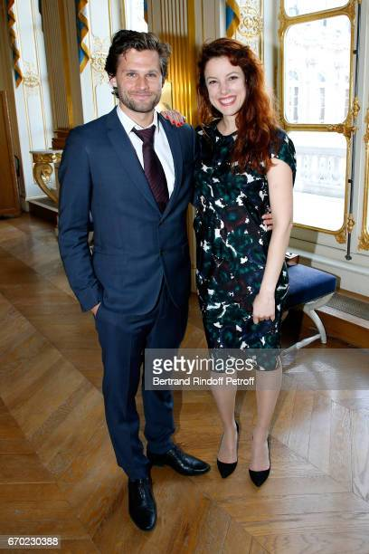 Actor in 'Edmond' Kevin Garnichat and Nominated for 'Moliere de la Revelation Feminine' for 'La Peur' Helene Degy attend the 29th Molieres 2017...
