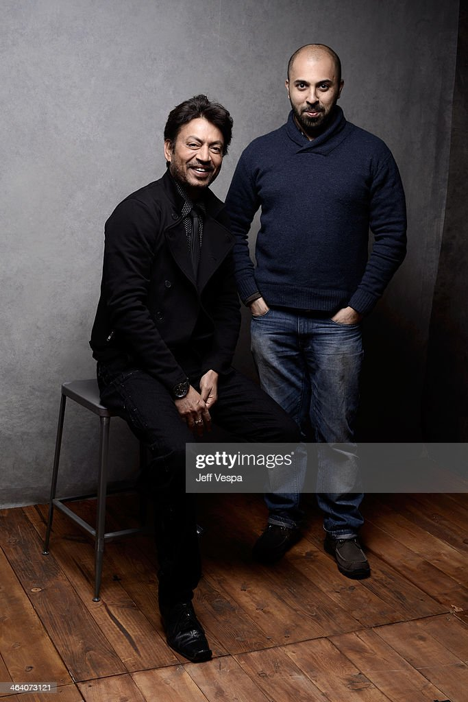 Actor Irrfan Khan (L) and filmmaker Ritesh Batra pose for a portrait during the 2014 Sundance Film Festival at the WireImage Portrait Studio at the Village At The Lift Presented By McDonald's McCafe on January 20, 2014 in Park City, Utah.