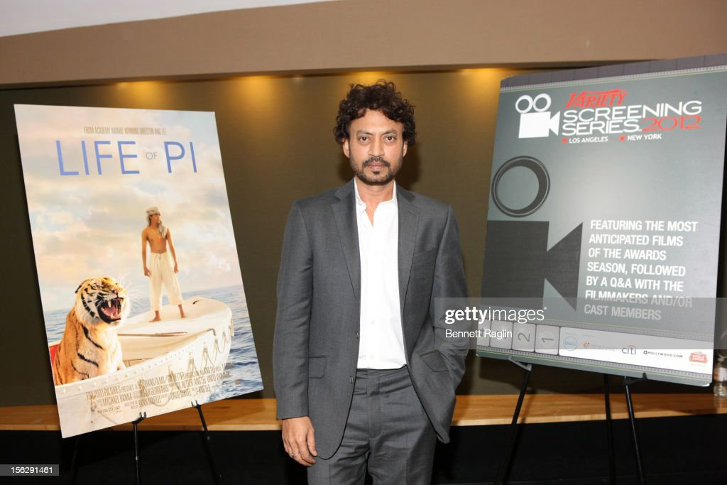 Actor Irrfan Khan attends 'Life Of Pi' during the 2012 Variety Screening Series at AMC Empire 25 theater on November 12, 2012 in New York City.